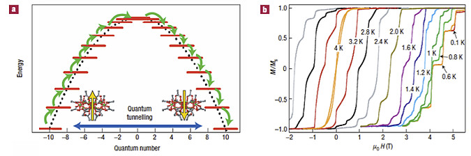 Schematic representation of the energy landscape of a SMM and hysteresis loops of single crystals